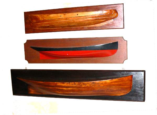three antique half hull models