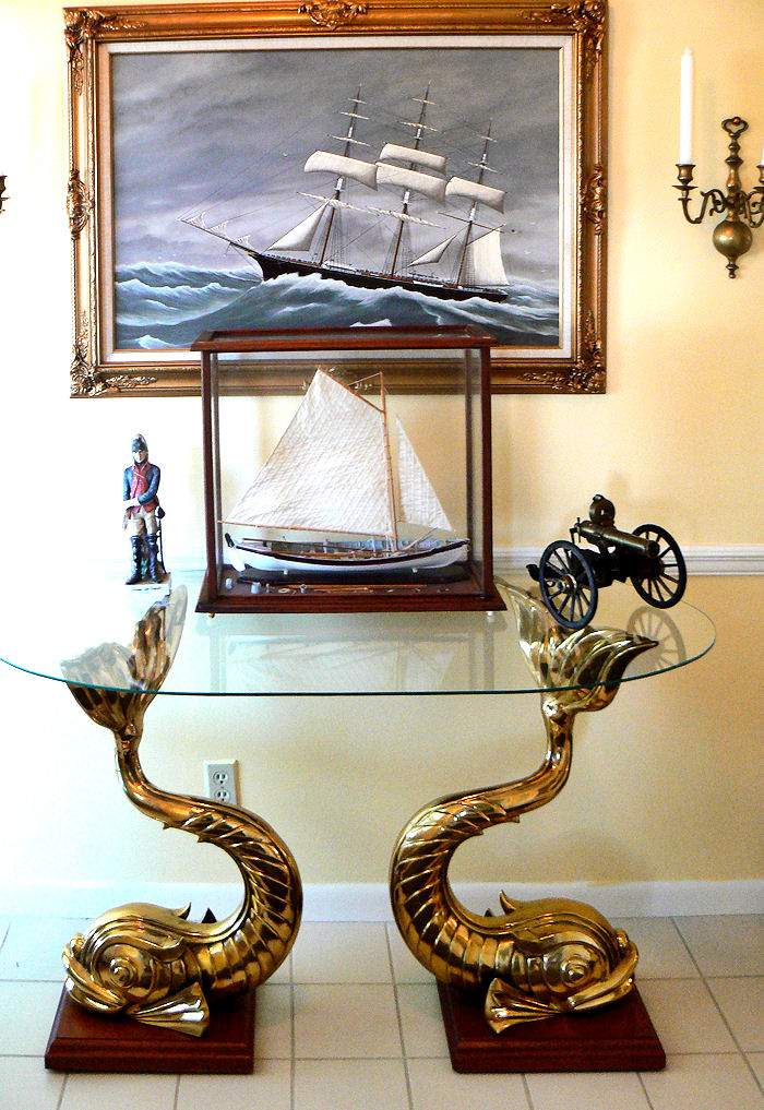 unique vintage twin dolphin bronze statue table